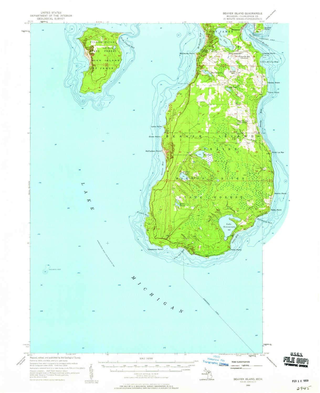 Amazon com : YellowMaps Beaver Island MI topo map, 1:62500