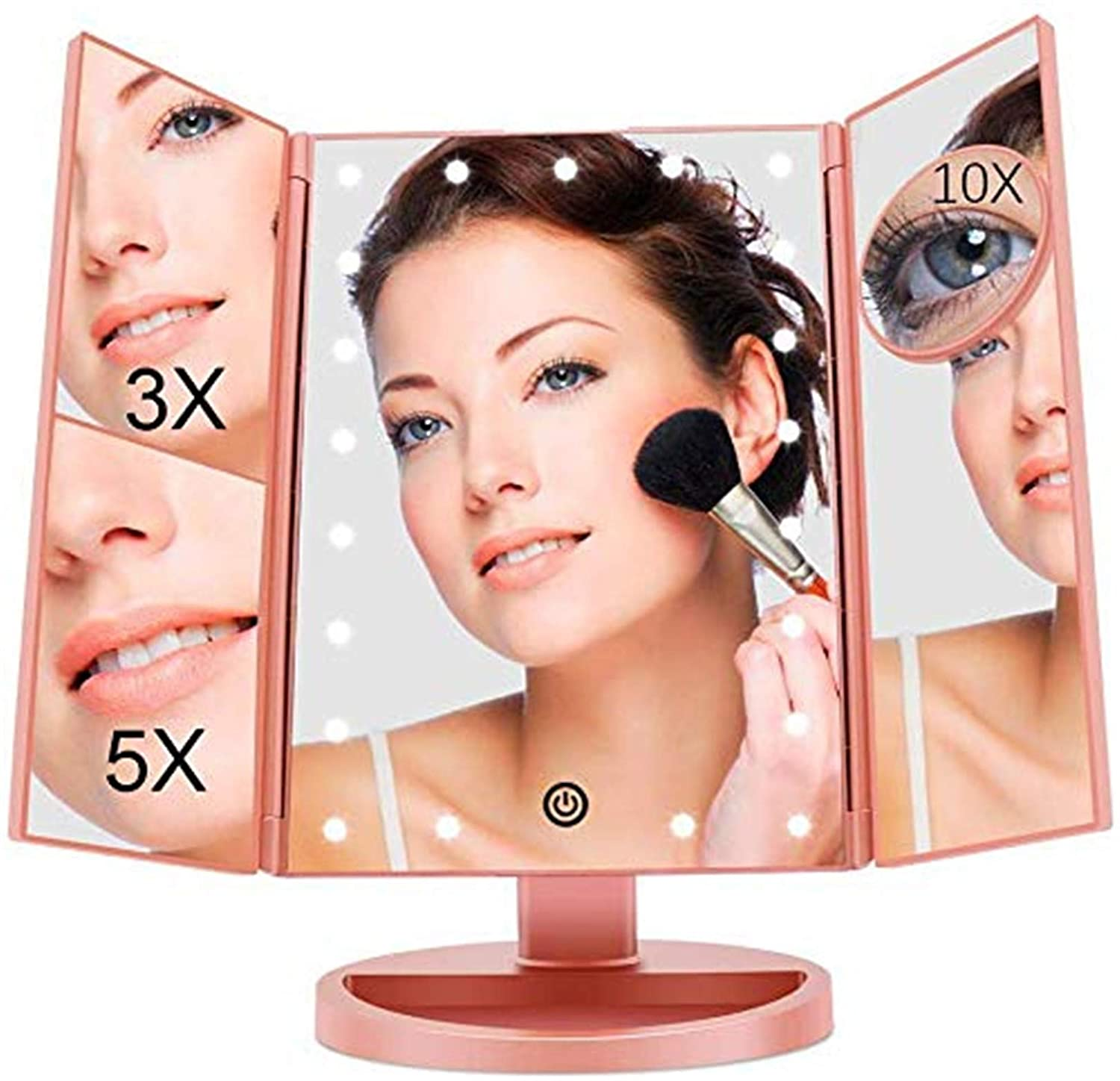 FASCINATE Trifold Led Lighted Makeup Mirror with 3X/5X/10X Magnification Vanity Mirror with 21 LED Lights, 180° Rotation Touch Screen Cosmetic Mirrors Dual Voltage Desk Mirror Tabletop (Rose Gold)