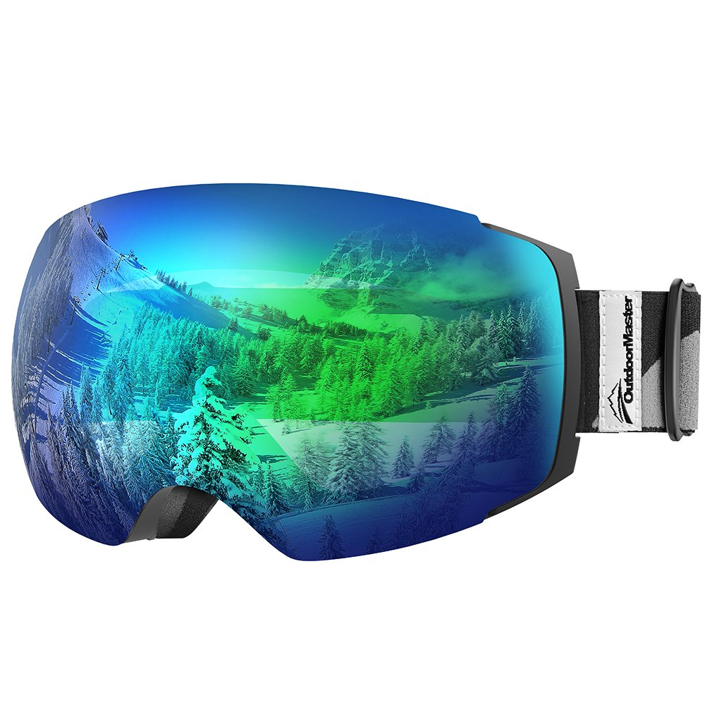 OutdoorMaster Ski Goggles PRO - Frameless, Interchangeable Lens 100% UV400 Protection Snow Goggles for Men & Women ( Black Frame VLT 18% Grey Lens with Full REVO Green and Free Protective Case ) by OutdoorMaster
