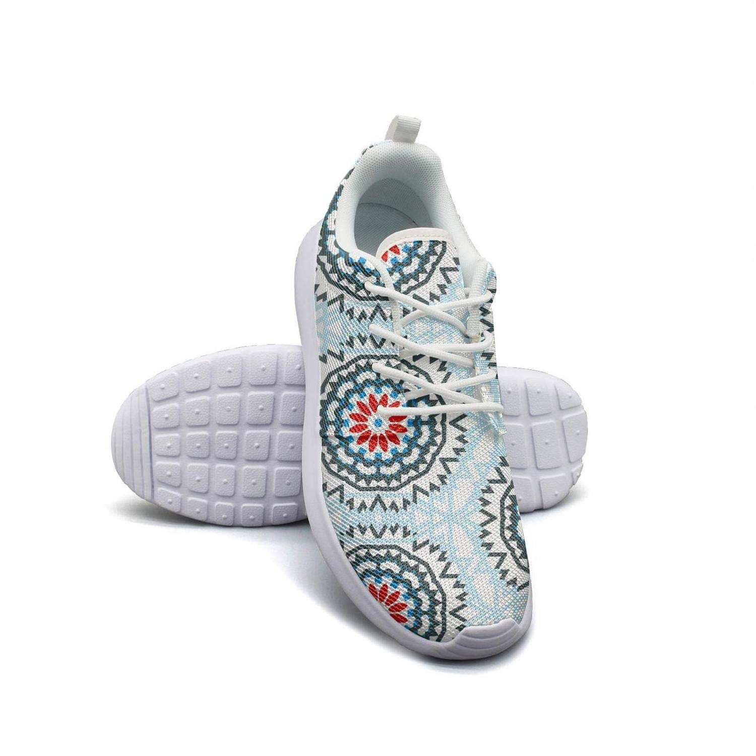 Womens Athleisure Sneakers Byzantine Moroccan Ethnic Colorful Pattern Blue Ultra Lightweight Breathable Mesh Fashion Walking Shoes