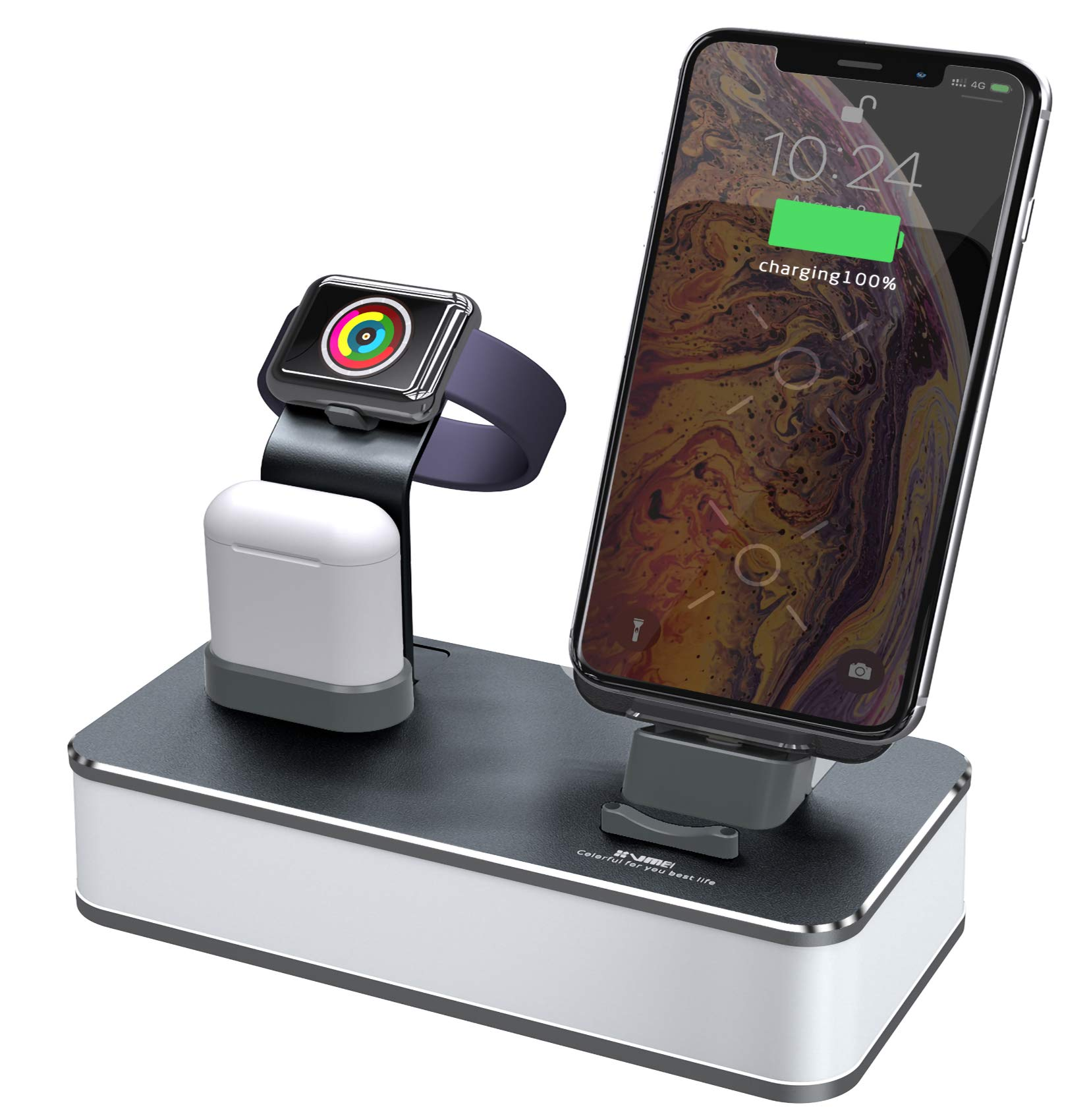 VMEI 7 in 1 CNC Aluminum Cellphone Charging Station/Wireless Charger for Cellphone/iWatch/airpods Charging Cradle/Integrated 45w PD Output/Nightlight(Gray) by VMEI