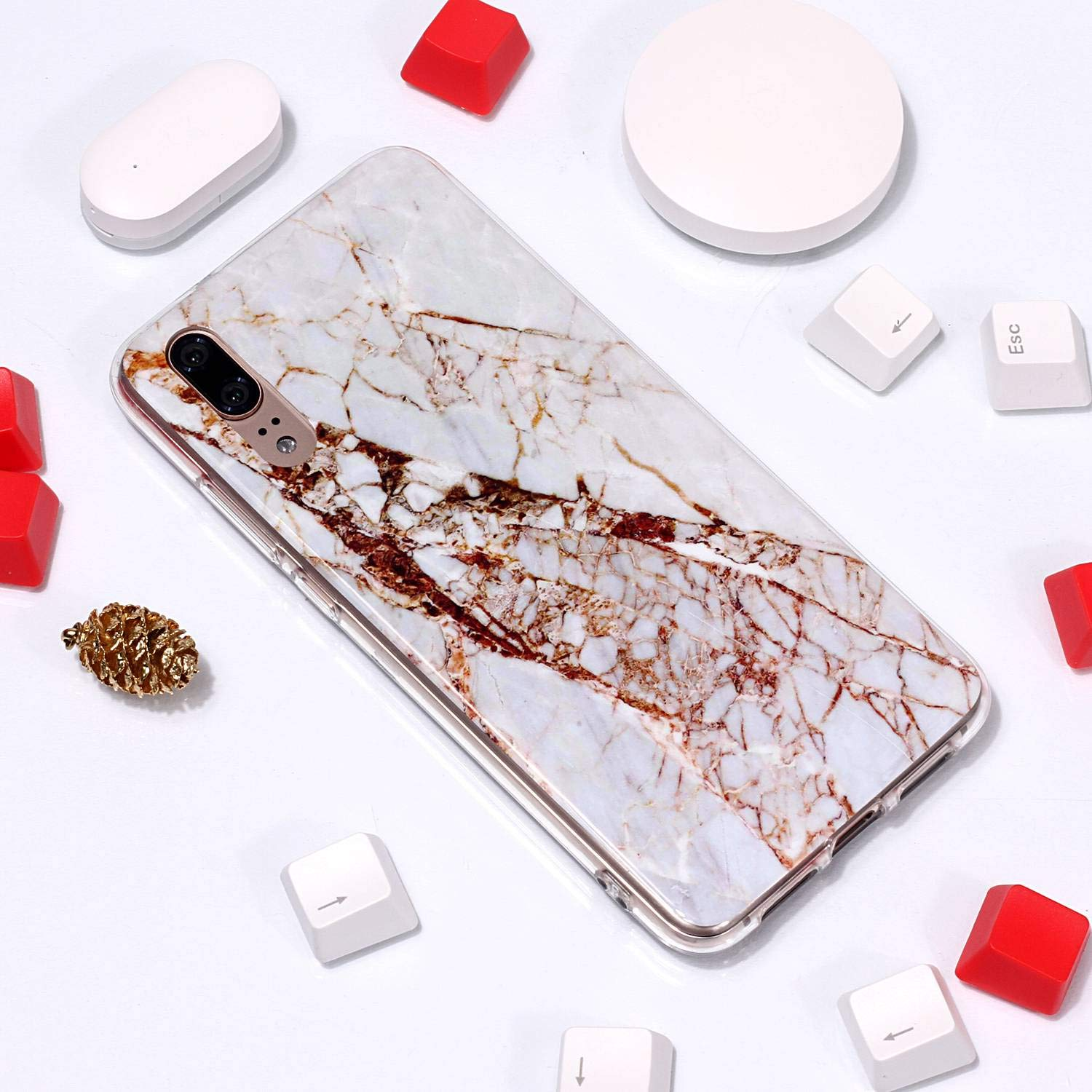 for Huawei P20 Marble Case with Screen Protector,Unique Pattern Design Skin Ultra Thin Slim Fit Soft Gel Silicone Case,QFFUN Shockproof Anti-Scratch Protective Back Cover - White by QFFUN (Image #4)