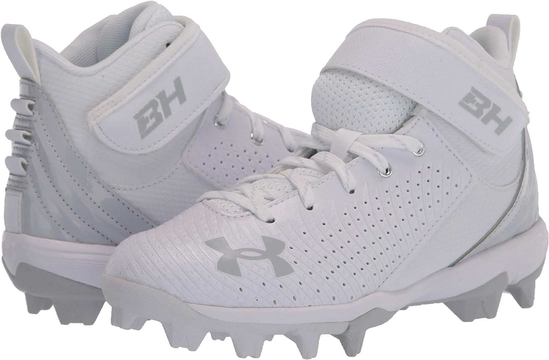 //Black Under Armour Boys Harper 5 Mid RM Jr 6 Big Kid Baseball Shoe 101 White