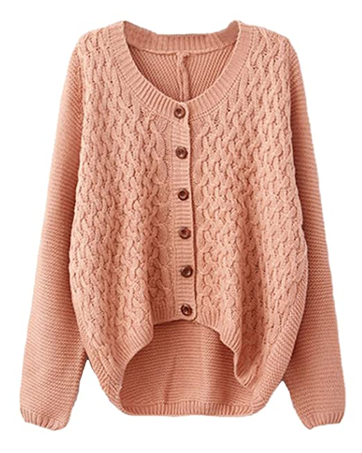 08ac8073f84b59 Minetom Damen Mode Strickjacke Pullover Mantel Warmen Wintermantel Apricot  One Size