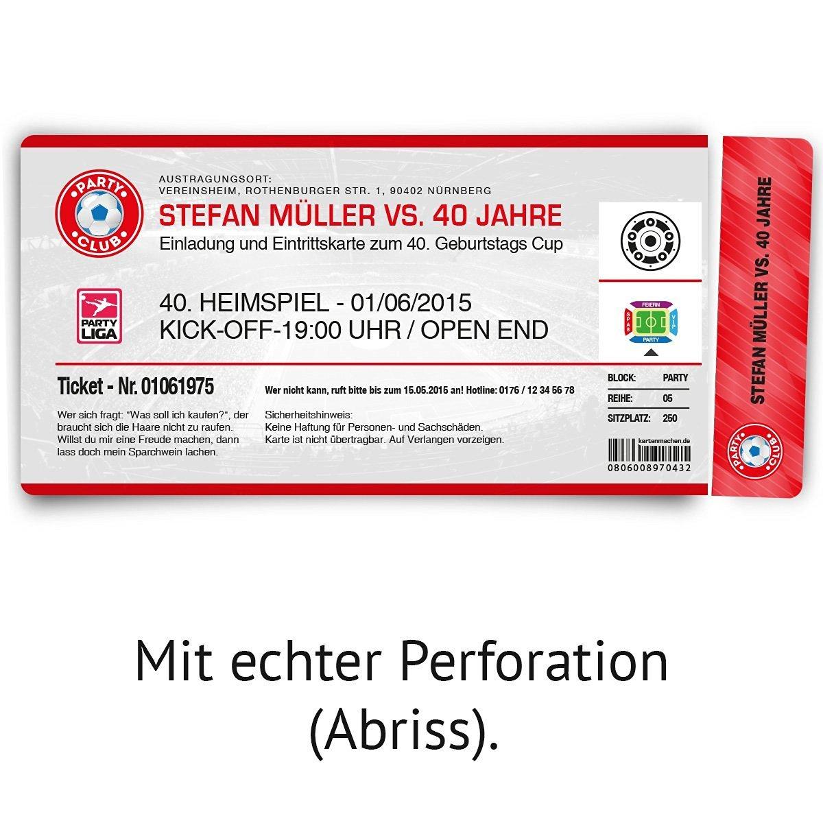 Einladungskarten zum Geburtstag (60 Stück) als Fussballticket Einladung in Rot Rot Rot B00NIPQH0Q   Guter weltweiter Ruf    Fierce Kaufen    Zuverlässige Leistung  910ef7