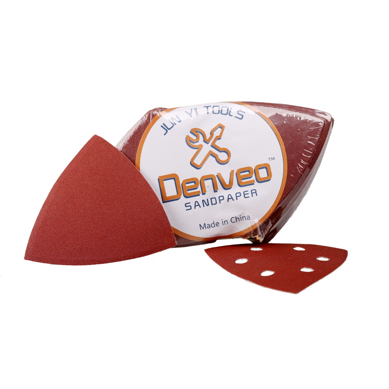 Denveo 95mm 3.7 Inch Triangle Detail Dry Sanding Disc 60/80/120/180/240/320 Grit Sandpaper Assortment, Hook and Loop System Red Paint and Steel Sanding for Random Orbital Sander, Pack of 60 (6 Holes)