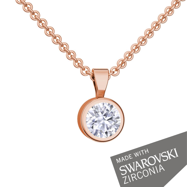 Goldkette damen hochzeit  Schmuckset Rosegold von AMOONIC mit SWAROVSKI Zirkonia (Silber 925 ...