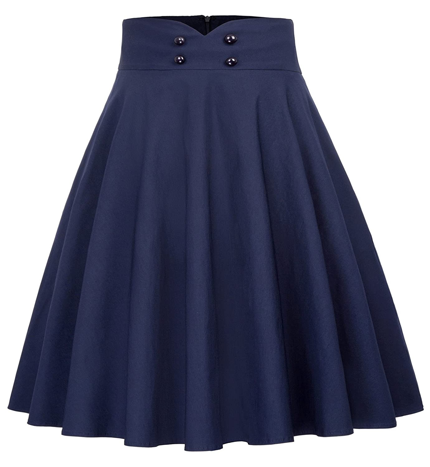 Belle Poque 50s Style Pleated Swing Skirt for Tea Party Cocktail with Pockets GF560