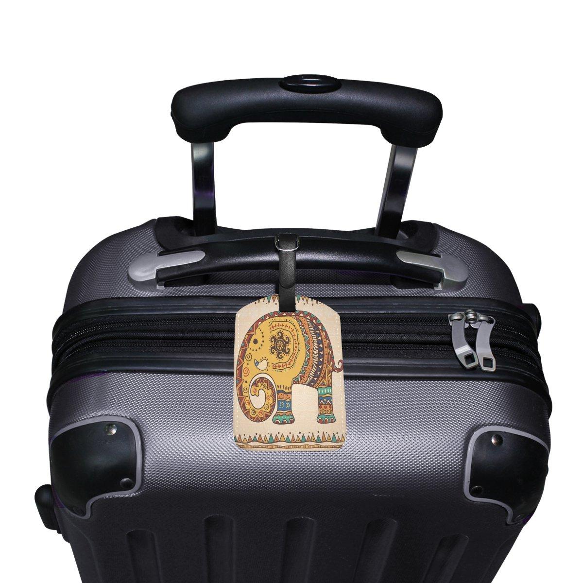 Saobao Travel Luggage Tag Illustration Elephant PU Leather Baggage Suitcase Travel ID Bag Tag 1Pcs