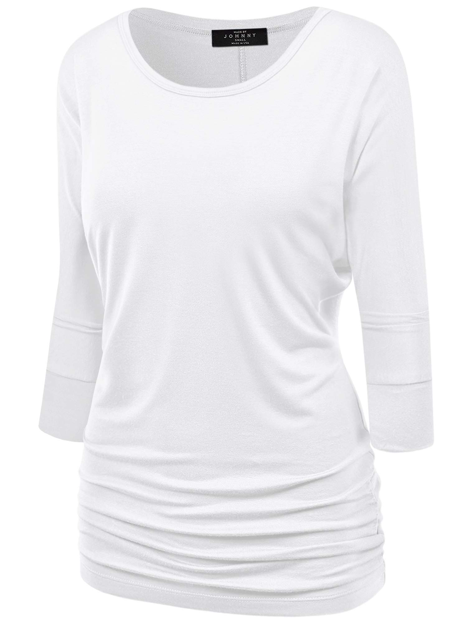Women's V-Neck/Boat Neck 3/4 Sleeve Drape Dolman Shirt Top with Side Shirring