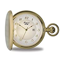 Vintage Pocket Watch with Chain by Rapport - Classic Oxford Hunter Case Pocket Watch with Date - Gold