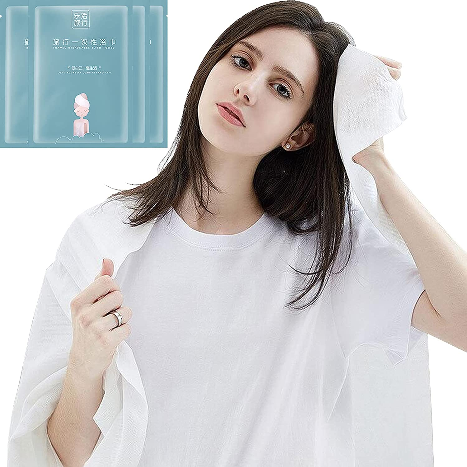 6 Packs of Portable Travel Pure Cotton Disposable White Soft Bath Towels, Suitable for Camping, Travel, Hotel, Business Travel (55 x 25.5 inches).