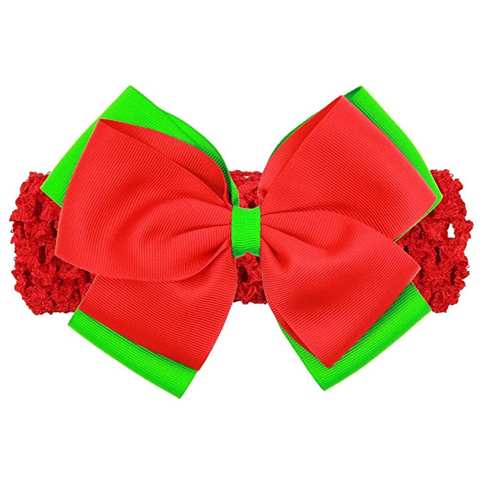 Amazon Com Toddler Baby Girls Two Color Christmas Bow Hair Wrap