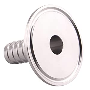 Hose Barb Adapter- 2 inch Tri Clamp to 3/4 inch Sanitary Rubber Hose Barb Pipe Fitting, Stainless Steel SS304 (3/4 Inch)