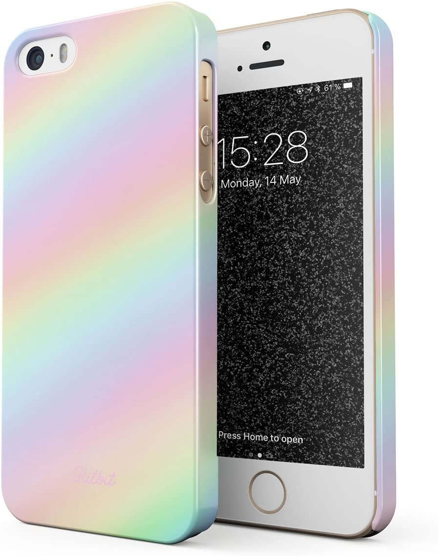 Glitbit Compatible with iPhone 5 / 5s / SE Case Pastel Rainbow Unicorn Color Ombre Pattern Holographic Tie Dye Pale Tumblr Kawaii Aesthetic Thin Design Durable Hard Shell Plastic Protective Case Cover