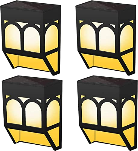 Solar Lights Outdoor, 2 Modes Solar Deck Lights- Warm Amber and Coloring for Garden Decorative, Fence, Patio, Deck, Front Door, Stair, 4 PCS