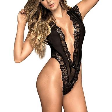e14926e8d Women Deep V Lingerie Lace Babydoll Mini Bodysuit Racy Sleepwear Pajamas  Teddy (Black