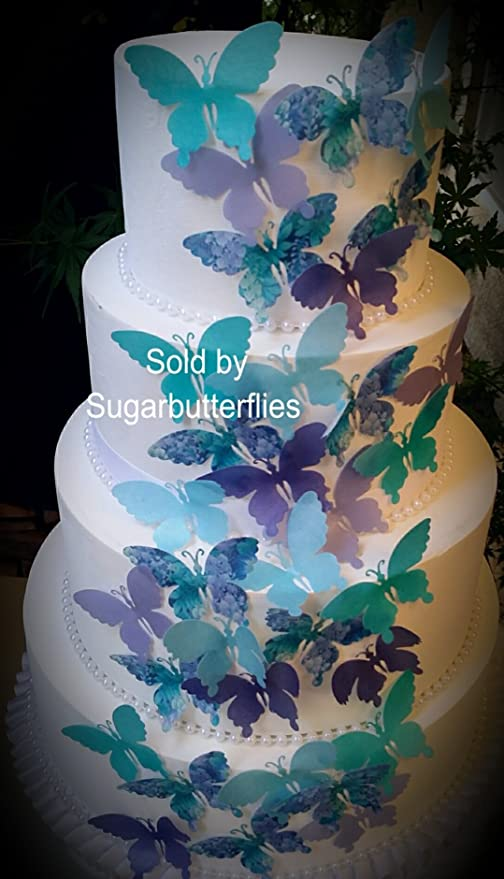Edible Butterflies Teal Purple Floral Cake Cupcake Toppers Set Of 36