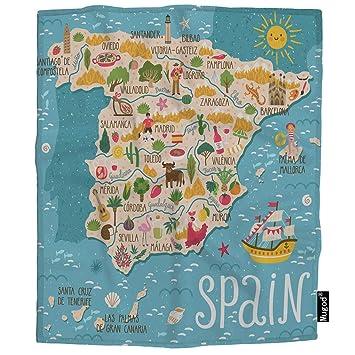 Amazon.com: Mugod Spanish Map Throw Blanket Sailboat ...