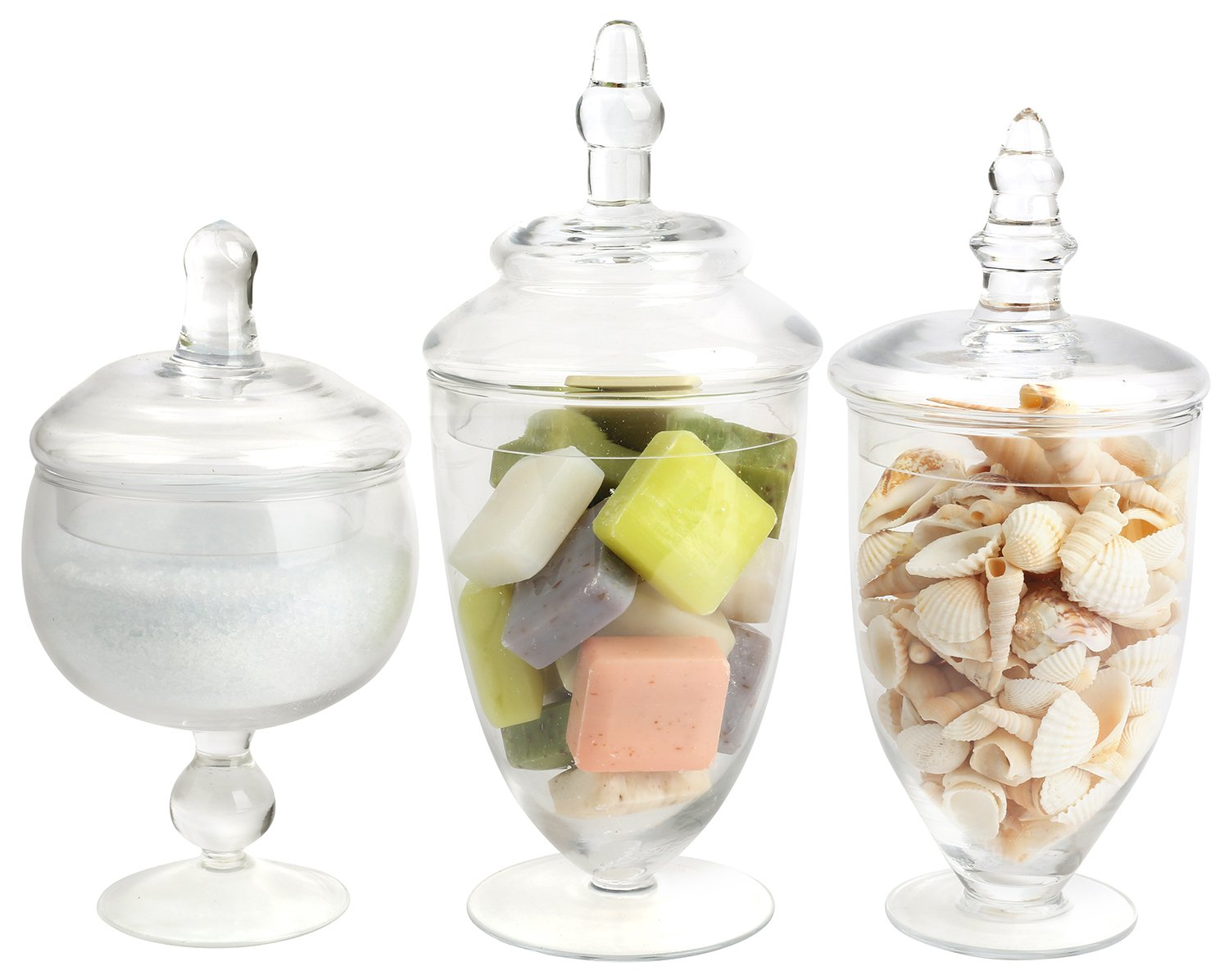 Mantello Decor Glass Apothecary Jars (Clear, Small, Set of 3) by Mantello