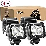 Nilight - 60001F-C LED Light Bar 4PCS 4 Inch 18W LED Bar 1260lm Flood Led Off Road Driving Lights Led Fog Lights Jeep Lightin