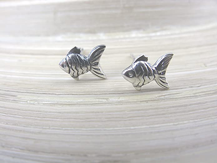 FaithOwl Fish Stud Earrings in 925 Sterling Silver