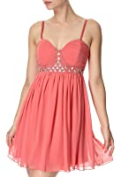 Lipsy Luxe Gem Embellished Chiffon Babydoll Corset Dress in Bon Bon Pink