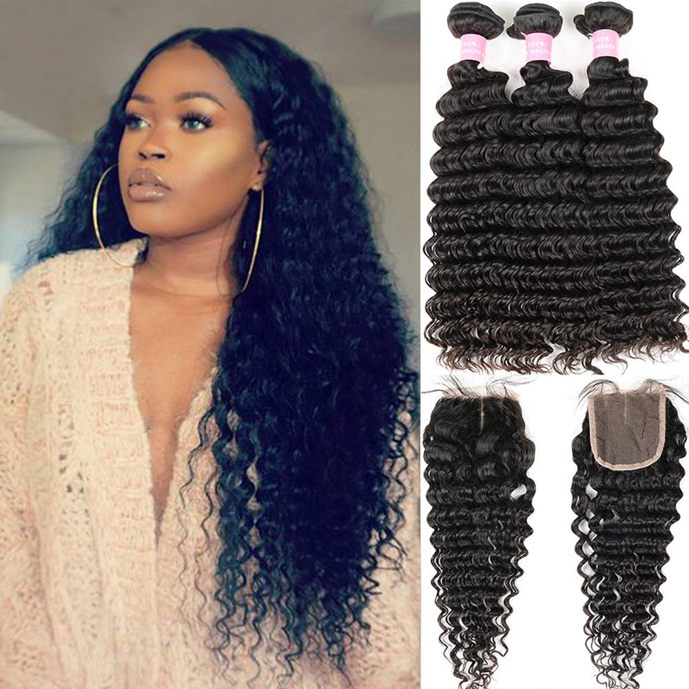 Brazilian Deep Wave 8A Unprocessed Virgin Hair 3 Bundles with Middle Part Lace Closure 4×4 Lace Mixed Length Hair Bundles Natural Color or Black Women Miss GAGA (16 18 20+14)