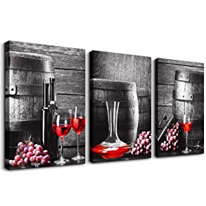 "Black and white barrel Red wine Canvas Wall Art for kitchen Canvas Prints Artwork dining room Wall Decor painting 12"" x 16"" 3 Piece modern Framed Ready to hang hotel restaurant Home Decorations"