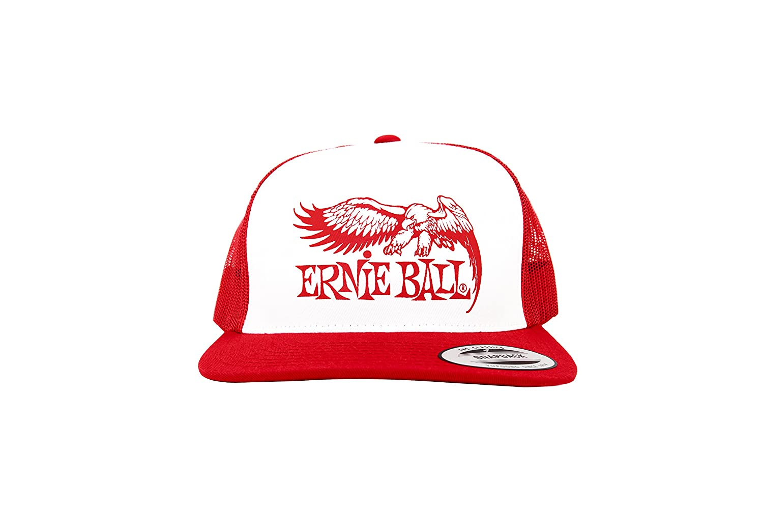 eeb90f623d2 Amazon.com  Ernie Ball Red with White Front and Red Ernie Ball Eagle Logo  Hat  Musical Instruments