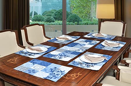 Avira Home Multi-checks Cotton Table Mats (13x19-inch, Blue) -7 Pieces Place Mats at amazon