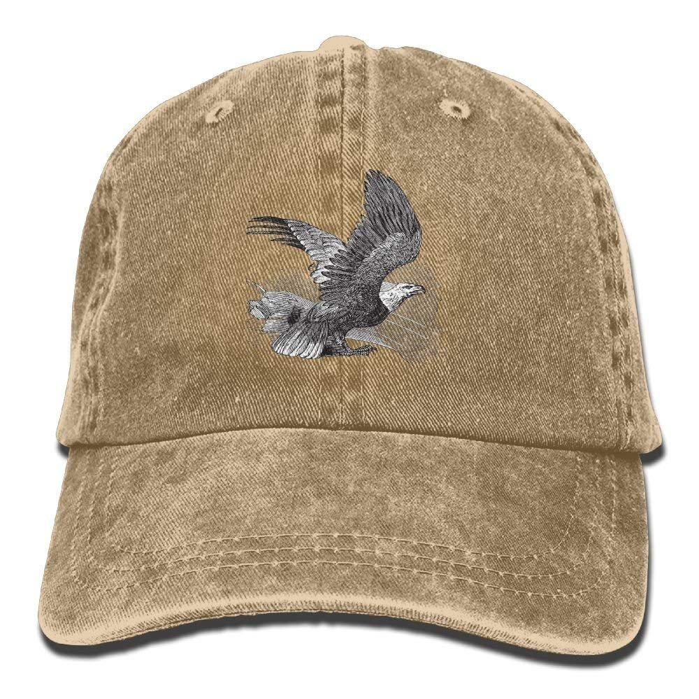 fboylovefor Denim Baseball Cap Bald Eagle Adult Vintage Washed Sport Adjustable