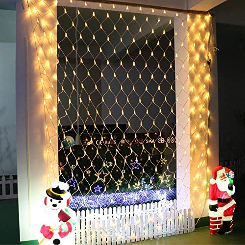 RENUS 10×6.5Ft 320 LED Net Lights Indoor String Lights Party Christmas Xmas Wedding Home Garden Decorations 8 Modes for Flashing Warm White