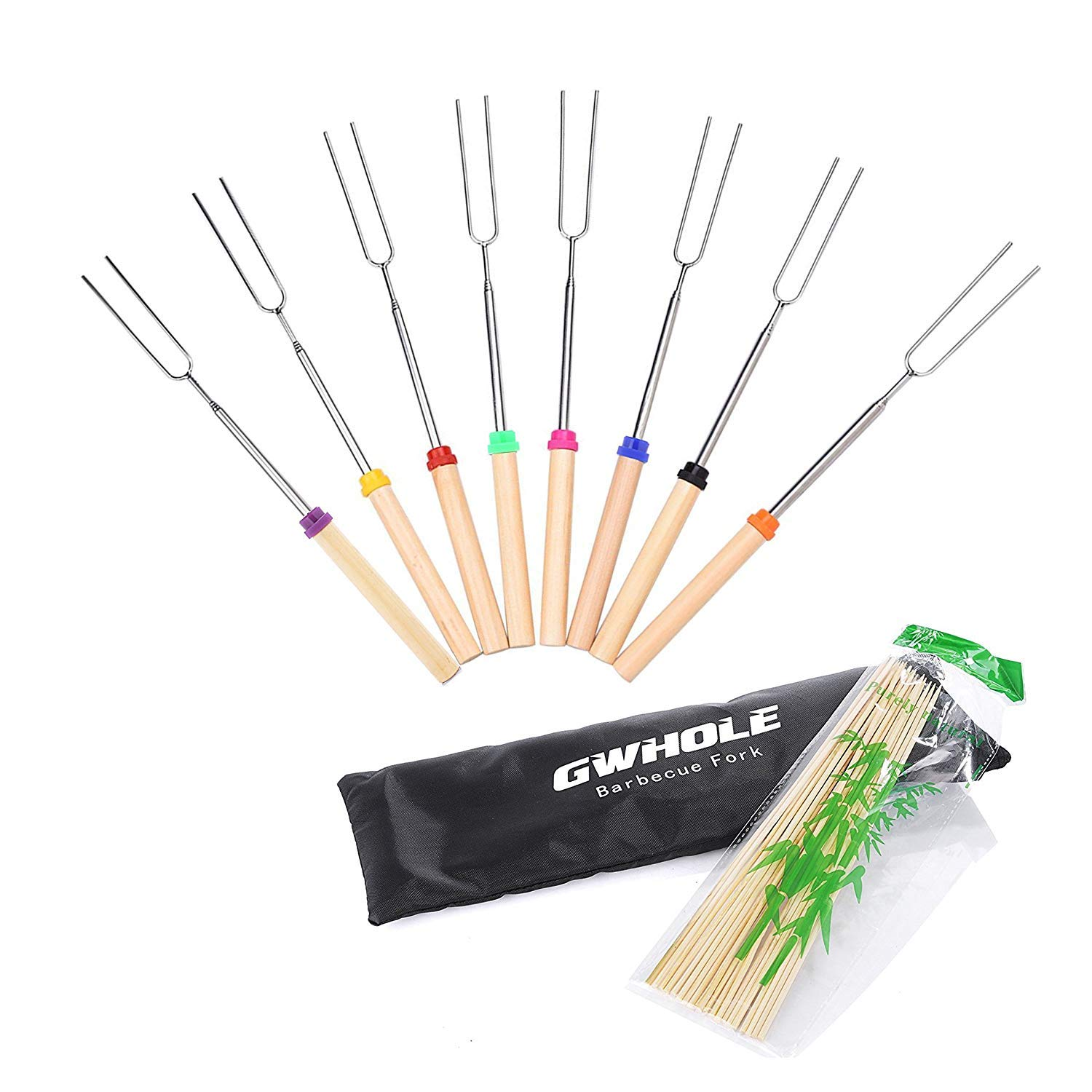 WWQ Extendable Marshmallow Roasting Sticks BBQ Forks 31-82cm with Bamboo Sticks and Canvas Pouch, Set of 8 [One Year Warranty]