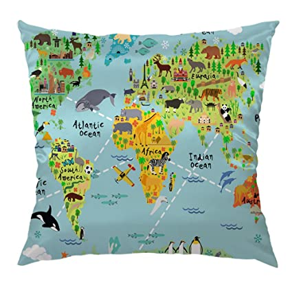Amazon Com Moslion World Map Pillow Home Decorative Throw Pillow