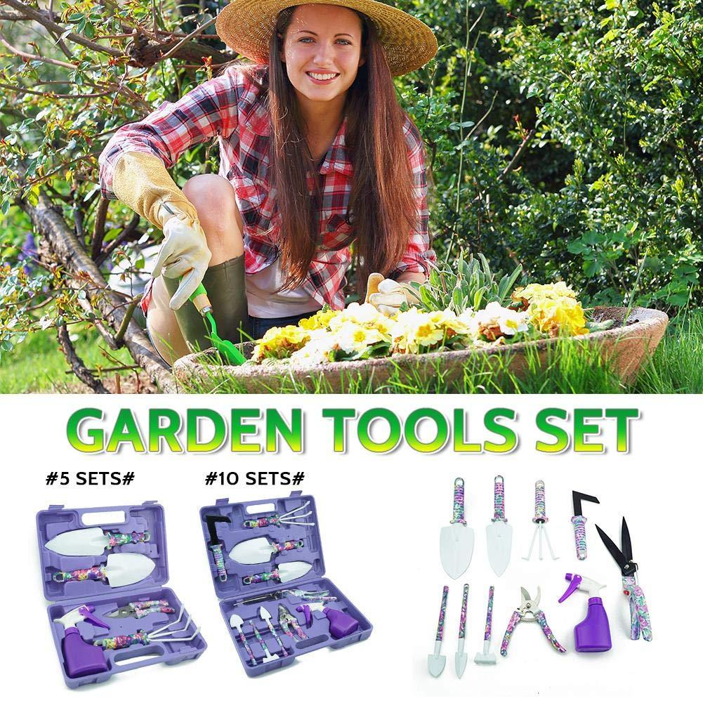 Leichter Wetour Garten Handwerkzeug Set Geschenk Mit Lila Druck Rutschfester Griff Pruner Trowel Rake Spr/ühflasche und Aufbewahrungstasche