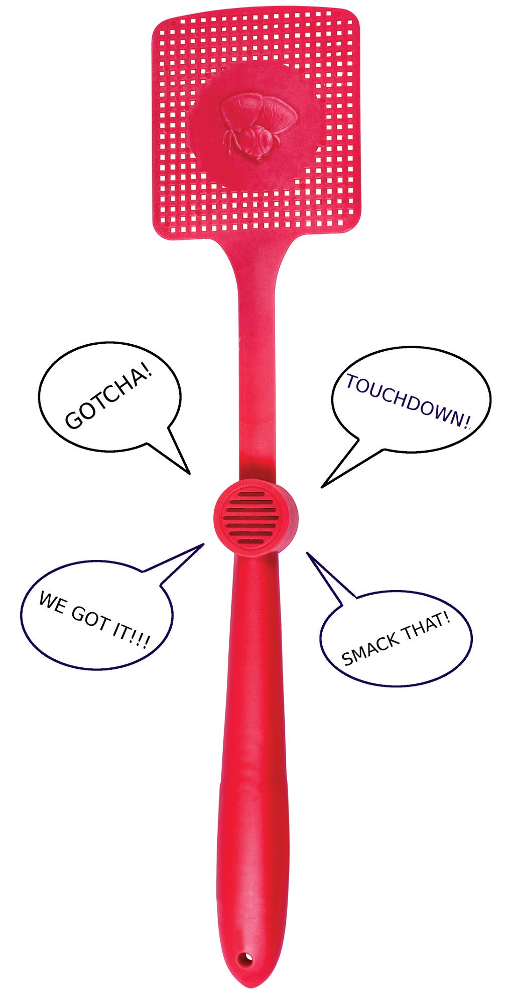 Talking Fly Swatter - Novelty Funny Swatter With Built In Speaker Speaks 5 Phrases Pest Control Plastic Swat For Home Or Office Colors VARY
