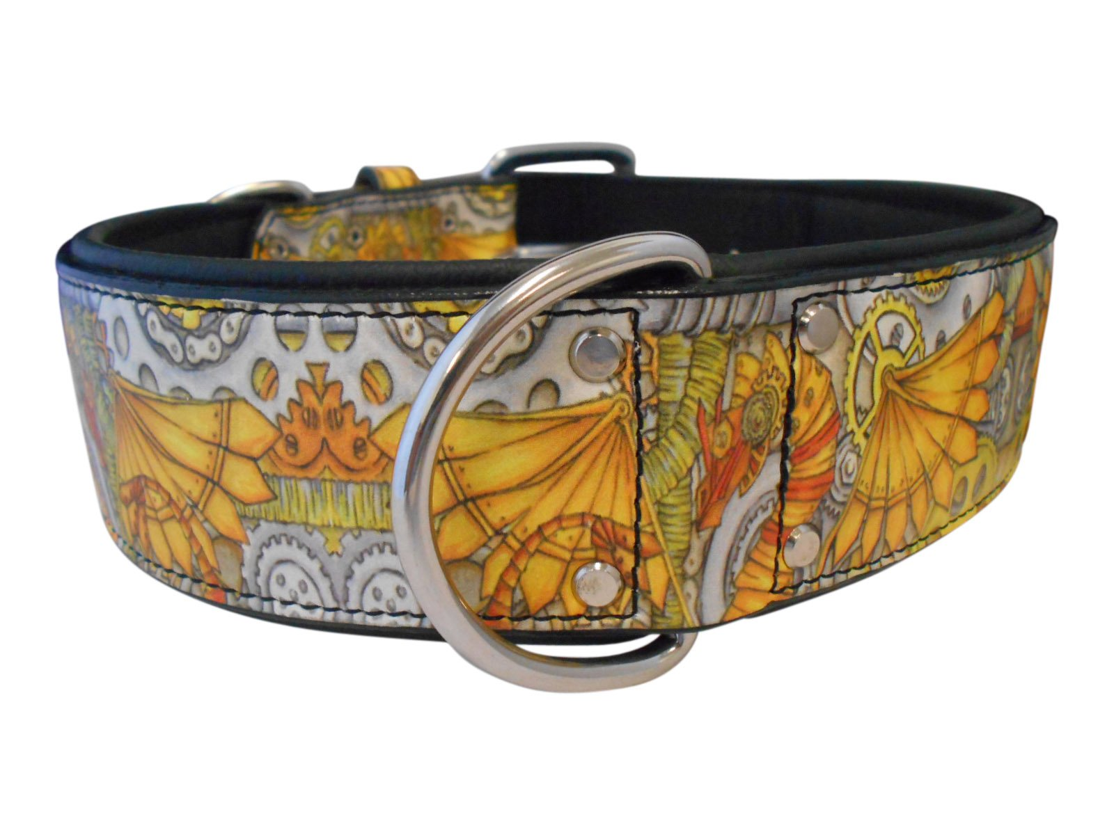 Angel, Dragon Punk, 28'' x 2'' Genuine Leather Tattoo Dog Collar, Inked Collection, Artist Collection