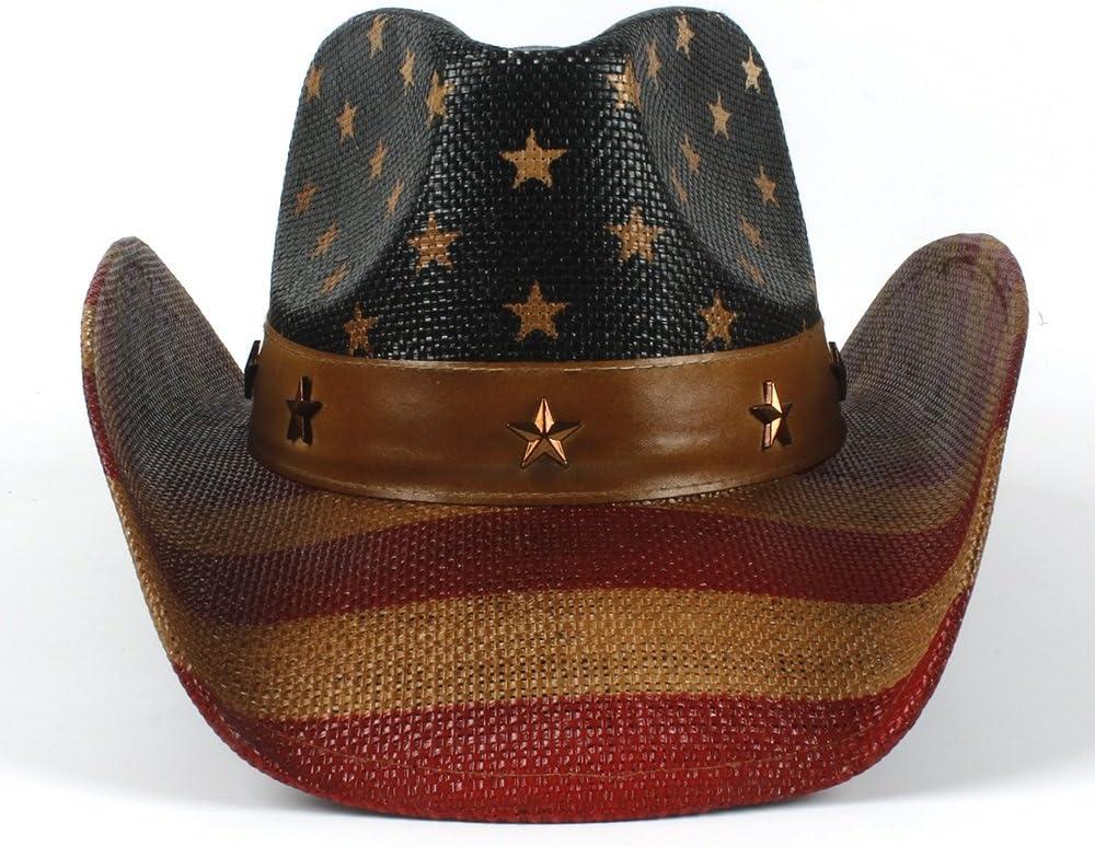 Hat Daily Accessories Wide Brim American Flag Cowboy Hat for Women and Men Sun Hat Jazz Hat Color : Black, Size : 58-59cm