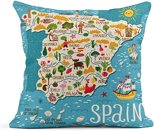 Decoración Fundas de Almohada de Lino Throw Red Europa Mapa de ...