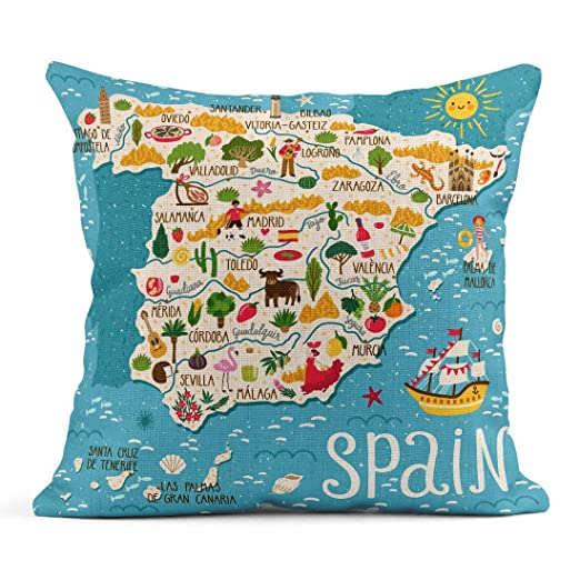 Decoración Fundas de Almohada de Lino Throw Red Europa Mapa ...