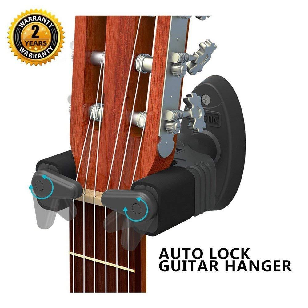 Guitar Hanger Auto Lock Rack Hook Holder Wall Mount Bracket Home Studio Display Fits All Size Guitar Acoustic Bass Mandolin Banjo Easy Installation Compact Plastic Black OIBTECH