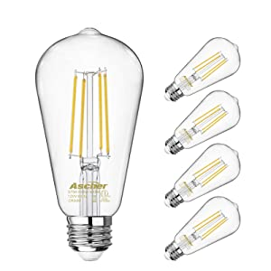 Vintage LED Edison Bulbs 60 Watt Equivalent, Eye Protection Led Bulb with 95+ CRI, Non-Dimmable, High Brightness Daylight White 4000K, ST58 Antique LED Filament Bulbs, E26 Medium Base, Pack of 4