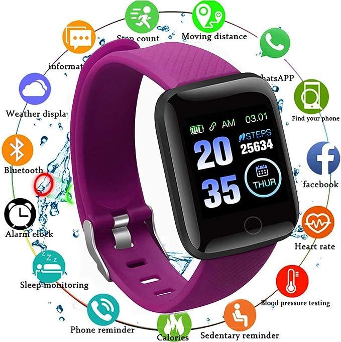 YOUQING reloj inteligente impermeable con correa de muñeca con resolución HD, frecuencia cardíaca de presión arterial, Bluetooth, recordatorio de llamadas, recordatorio de alarma y podómetro: Amazon.es: Deportes y aire libre