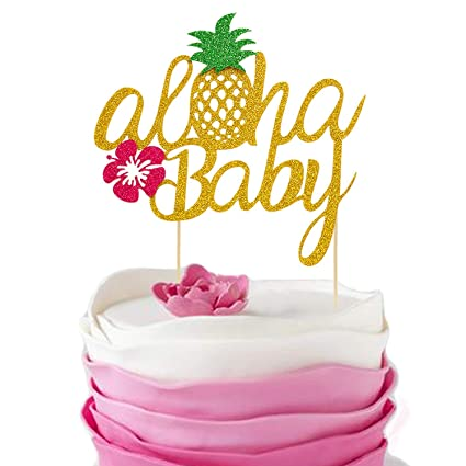 Amazon Com Pineapple Cake Toppers Aloha Baby Shower Birthday