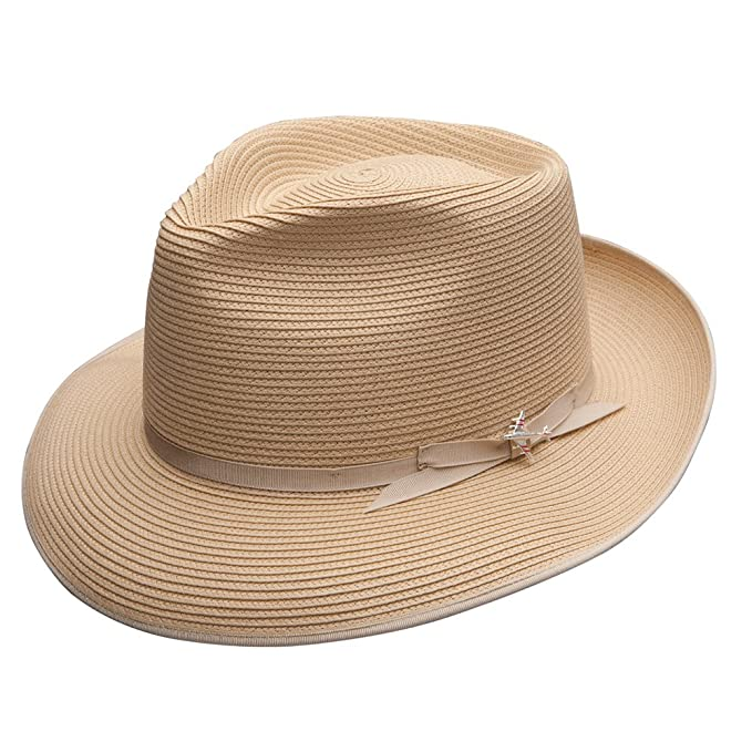 1950s Mens Hats | 50s Vintage Men's Hats Stetson Mens Stratoliner Florentine Milan Straw Hat $82.00 AT vintagedancer.com