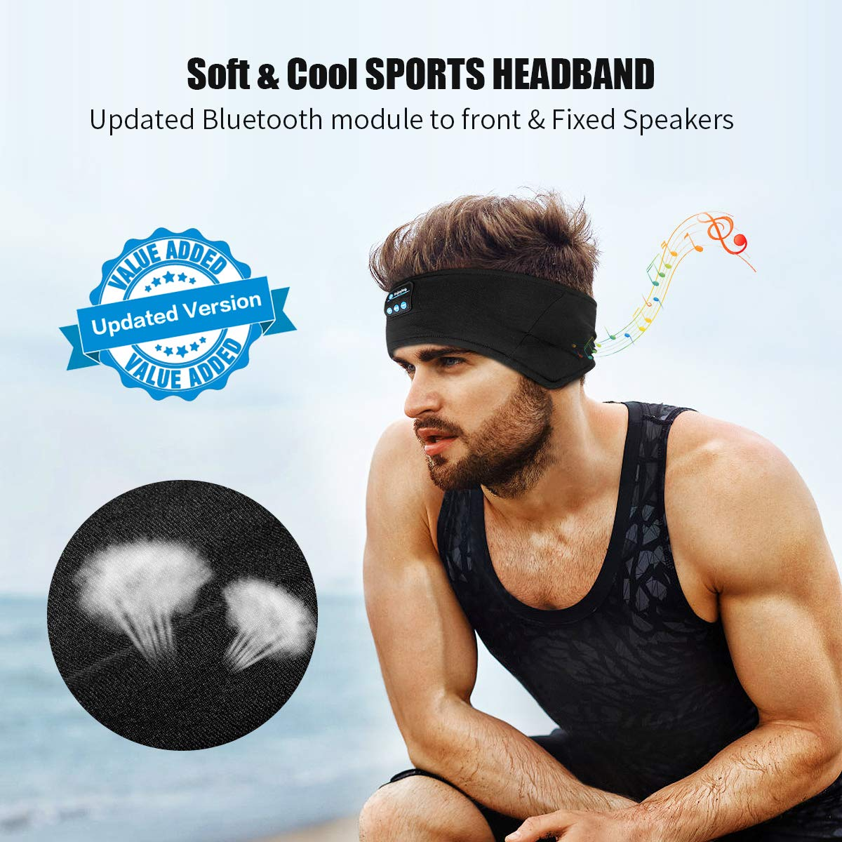 Bluetooth Headbands Music Sports Sweatband,WU-MINGLU Wireless Sleeping Headphones,Headband Headset for Men,Women with Thin Cooling Fabric Adjustable Earphones for Running, Yoga Black