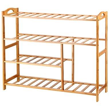 Ollieroo Bamboo 4-Tier Shoe Rack 10-13 Pairs Entryway Shoe Shelf Storage Organizer