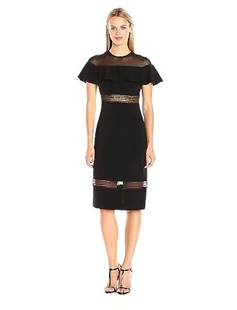 Nicole Miller Women's Trim Techy Crepe Ruffle Combo Dress, Black/Black, 4