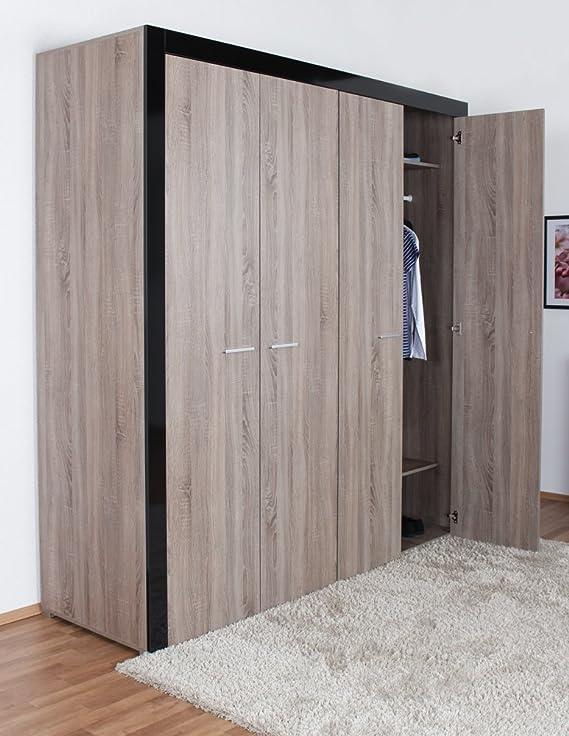 Armario ropero con puertas abatibles y armario roble en color negro brillante (215 x 206 x 65 cm): Amazon.es: Bricolaje y herramientas